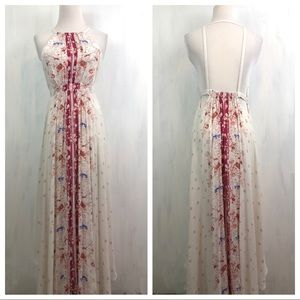 Free People Caught in the Moment Cream Maxi Dress